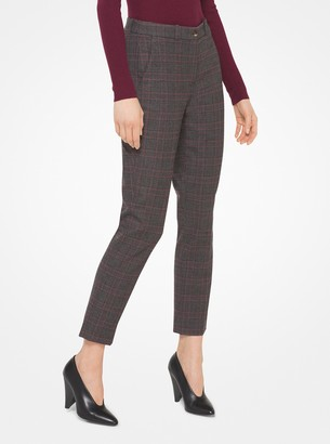 Michael Kors Samantha Plaid Stretch-Flannel Pants