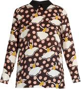 Marni Pirouette-print silk-georgette shirt