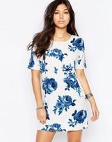 Vila Blue Rose Print Shift Dress