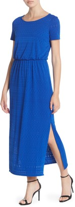 London Times Eyelet Lace Side Slit Maxi Dress (Petite)