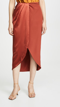 Brandon Maxwell Matte/Shine Combo Wrap Skirt