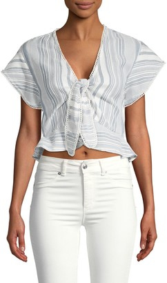 Red Carter Tie-Front Cotton Cropped Top