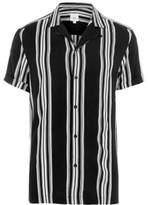 River Island Mens Black mono stripe short sleeve casual shirt