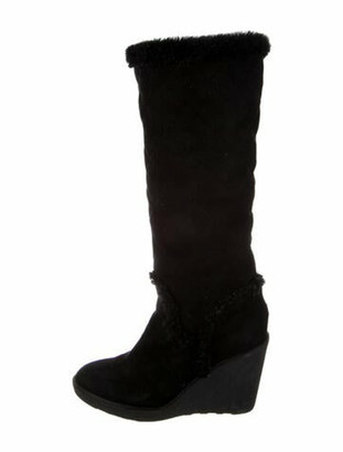 Moncler Suede Slouch Boots Black