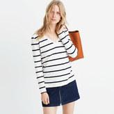 Madewell Whisper Cotton Long-Sleeve V-Neck Tee in Sheridan Stripe