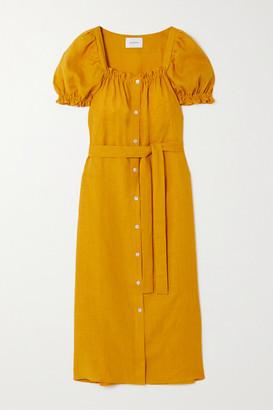 Sleeper Brigitte Belted Linen Midi Dress - Orange
