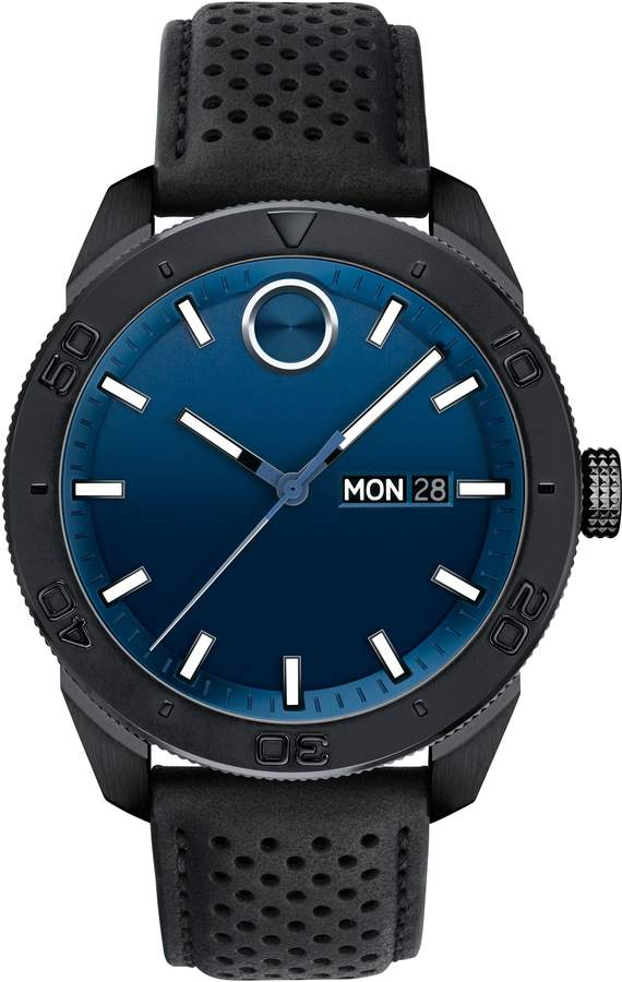 Movado Bold Metals Sport Leather Strap Watch, 43mm