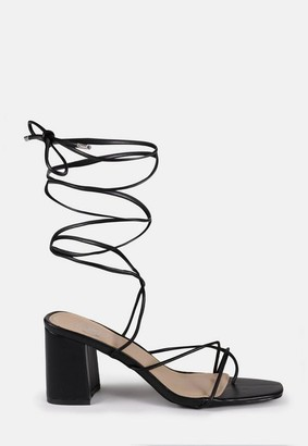 Missguided Black Block Heel Lace Up Sandals