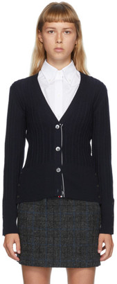 Thom Browne Navy Wool V-Neck Cardigan