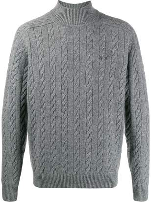 Sun 68 high collar cable knit jumper