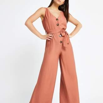 River Island Womens Petite Pink tie waist jumpsuit