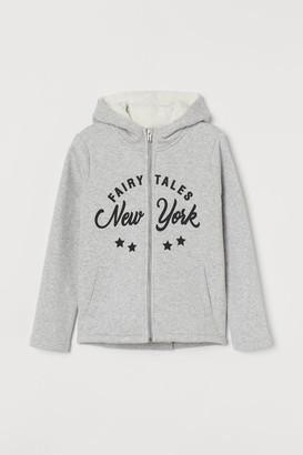 H&M Lined Hooded Sweatshirt Jacket - Gray