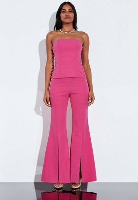 Missguided Pink Split Front Flare Leg Trousers