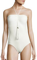 Vince Camuto Ruched Tie-Neck One-Piece Swimsuit