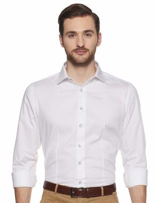Shaftesbury London Men's Slim Fit Long Sleeves Spread Collar Dress Shirt 15 White