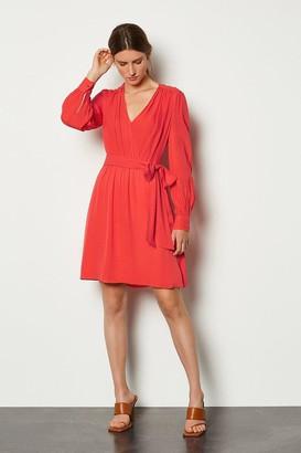Karen Millen Long Sleeve Short Wrap Dress