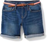 Old Navy Belted Denim Midi Shorts for Girls