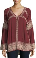 Tularosa Therone Embroidered Split-Neck Tunic