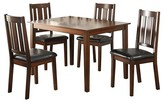 ACME Furniture 5 Piece Flihvine Dining Set Walnut and Black PU - Acme