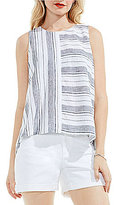 Vince Camuto Two by Stripe Linen Lace Up Tank