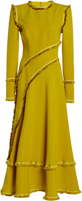 RALPH & RUSSO Ralph&Russo Ruffle-Trimmed Silk Crepe Dress