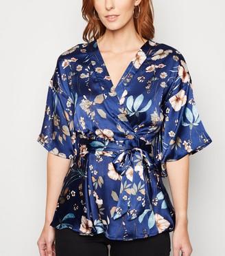 New Look Mela Floral Satin Kimono Peplum Wrap Top