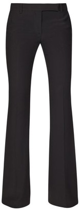 Alexander McQueen High-rise Flared Crepe Trousers - Black