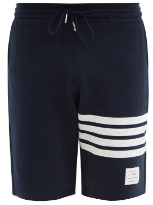 Thom Browne Striped Cotton Shorts - Mens - Navy