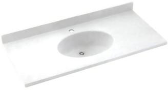 "Swan Chesapeake Solid Surface 37"" Single Bathroom Vanity Top Top Finish: White"