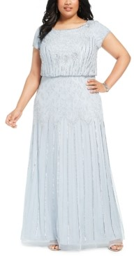 Adrianna Papell Size Bead-Illusion Blouson Dress