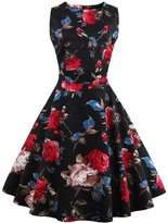 Lecimo Women's Vintage Classy Floral Sleeveless Party Picnic Cocktail Dress (, Black+Red)