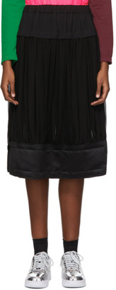 Comme des Garcons Black Georgette Pleated Mid-Length Skirt