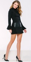 Jovani Bell Sleeve Leather Cut Out Mini Dress