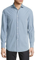 Brunello Cucinelli Check Woven Sport Shirt, Medium Blue