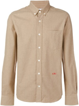 Ami Slim Fit Button-down Shirt Front Embroidery