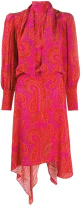 Zadig & Voltaire Paisley Asymmetric Silk Dress
