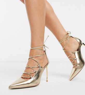 Asos DESIGN Wide Fit Watchful ghillie tie pumps in champagne gold