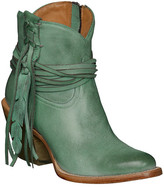 Lucchese Turquoise Leather Fringe Feather Boot