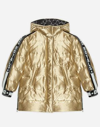Dolce & Gabbana Long Coat In Laminated Millennials Star Nylon