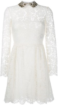 Valentino Embroidered Collar Lace Dress
