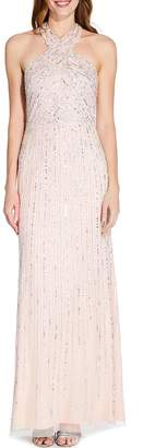Adrianna Papell Pale Nude Halter Beaded Maxi Dress