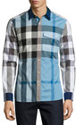 burberry clandon check sport shirt sky