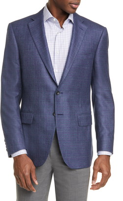 Canali Classic Fit Check Silk & Cashmere Sport Coat