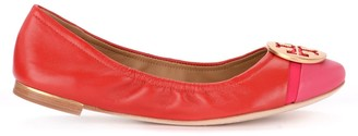 Tory Burch Minnie Cap-toe Ballerina Shoe In Red Nappa Leather With Fuchsia Paint