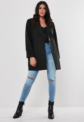Missguided Plus Size Black Formal Coat