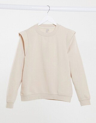 Pieces sweater with shoulder detail in beige