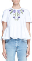 Alexander McQueen Floral-Embroidered Pique Peplum Top, White