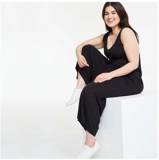 Joe Fresh Women+ Knot Strap Jumpsuit, JF Black (Size 1X)