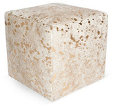 "Le-Coterie Cube 18"" Pouf, White/Gold Dot"