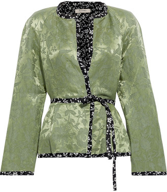Etro Belted Linen And Silk-blend Floral-jacquard Jacket